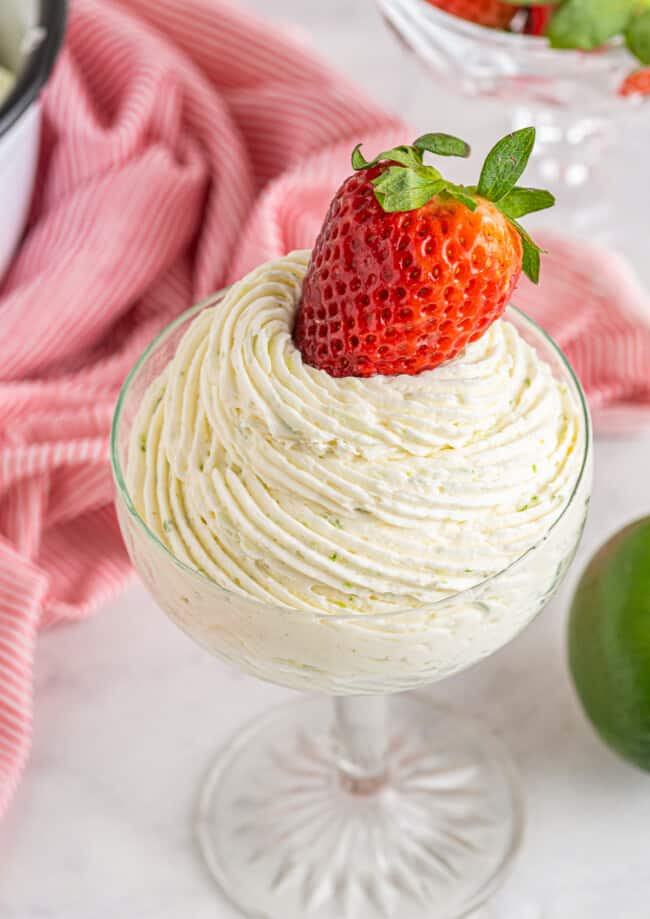 strawberry lime tequila buttercream piped into dish