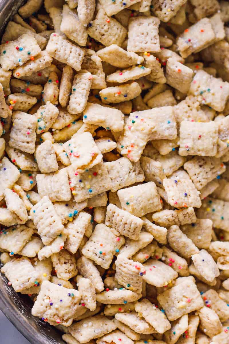 making cake batter puppy chow