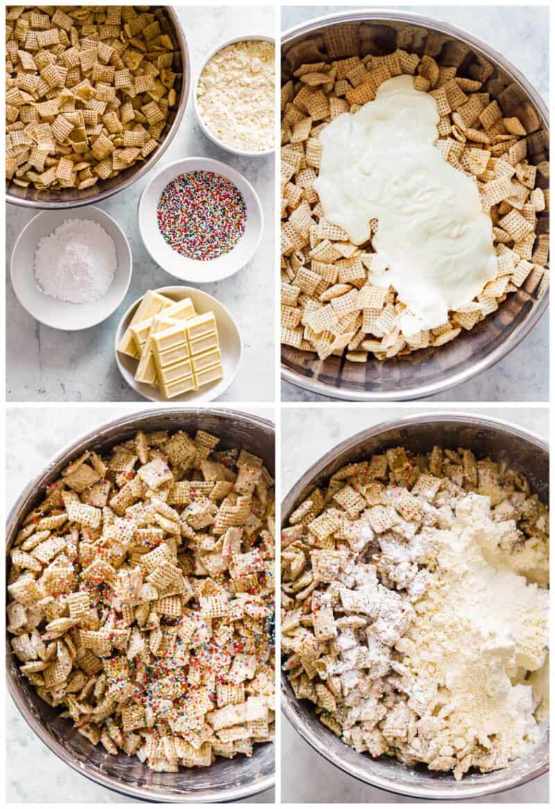 step by step photos for how to make cake batter puppy chow