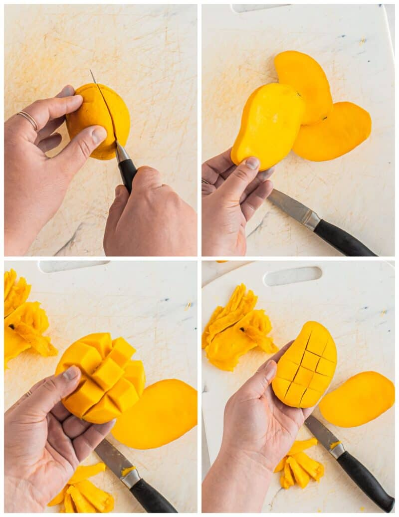 step by step photos for how to cut a mango for mango cake