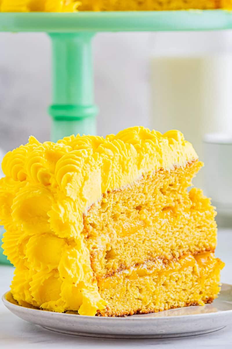 fresh mango cake slice on plate