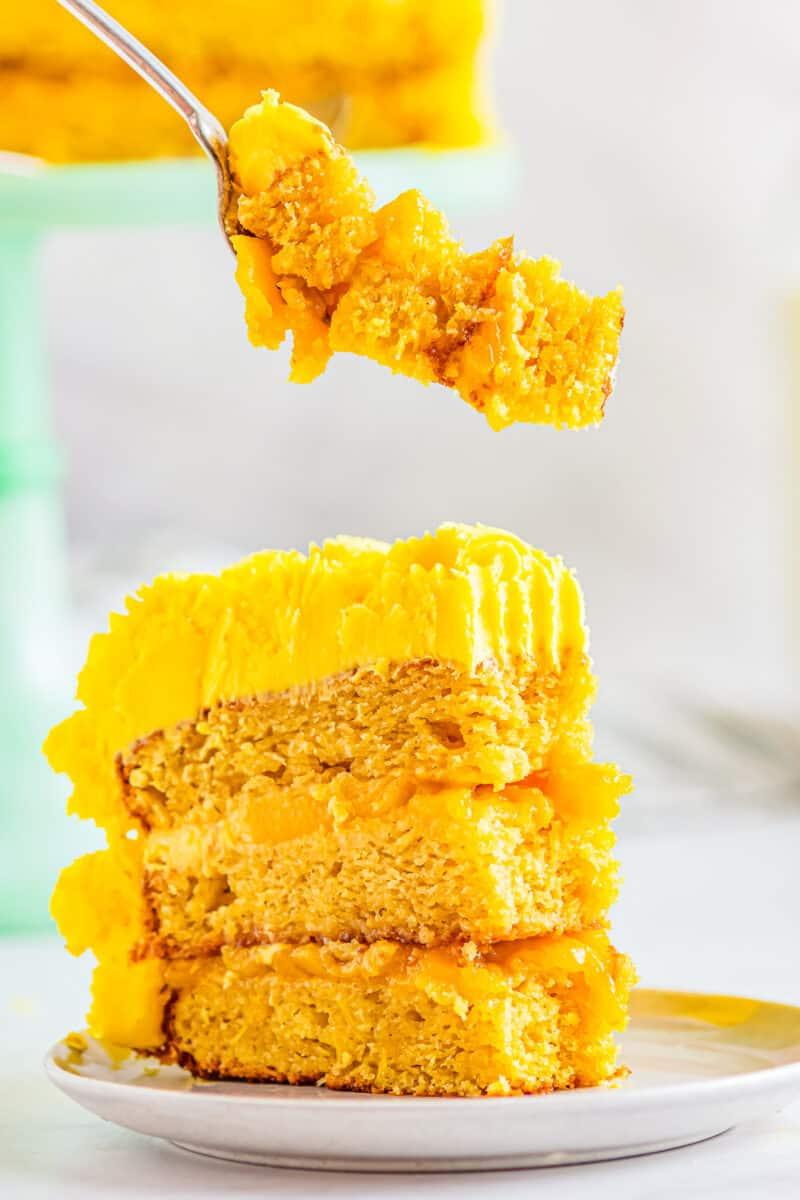 bite out of mango cake
