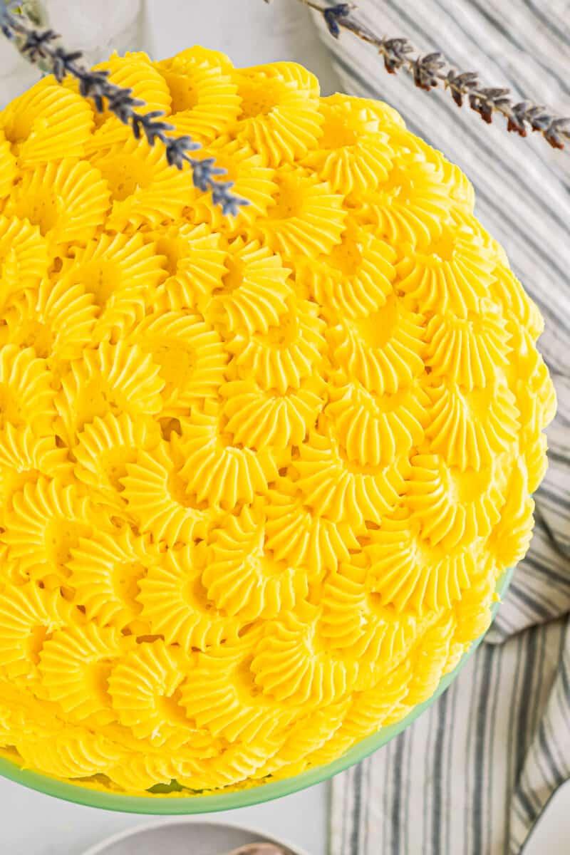 overhead iced mango cake