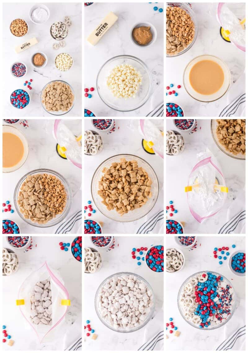 step by step photos for how to make patriotic puppy chow