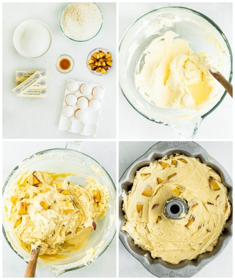 step by step photos for how to make peach bundt cake