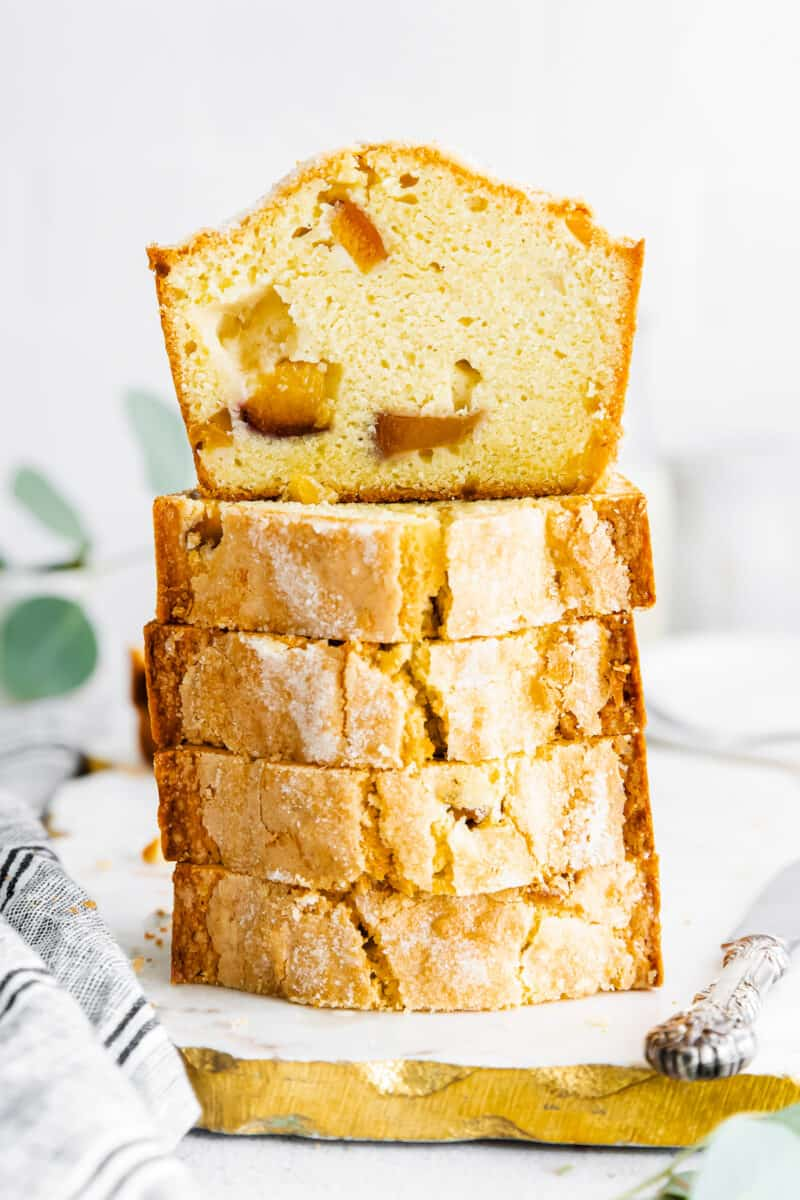 stacked sliced of peach pound cake