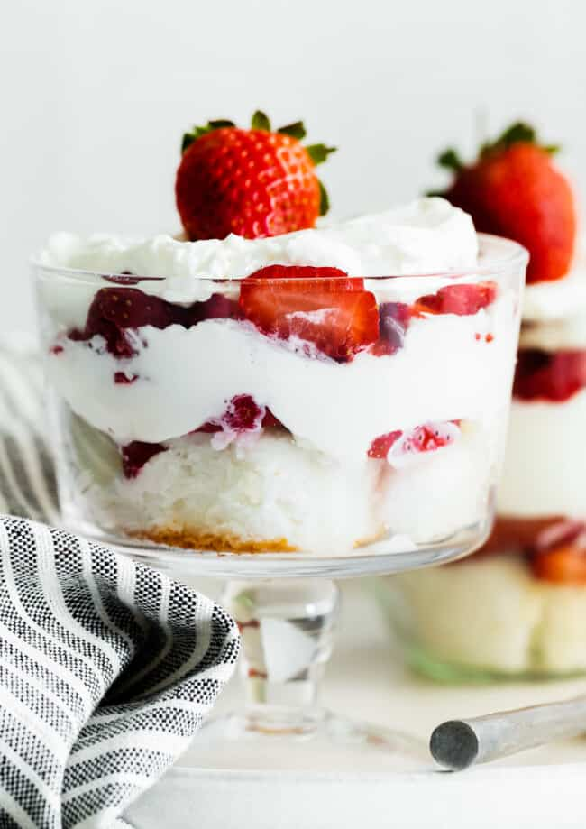 up close strawberry shortcake trifles in glass dishes