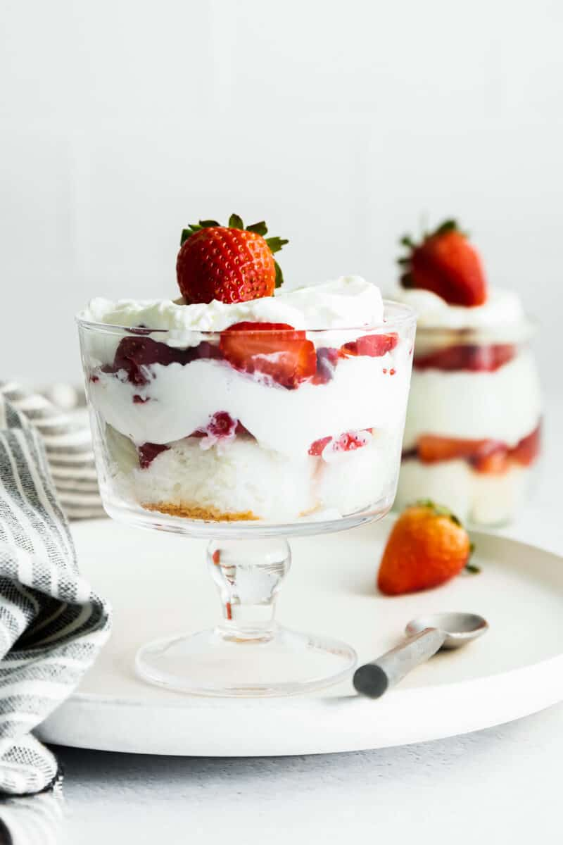 strawberry shortcake trifles in glass dishes