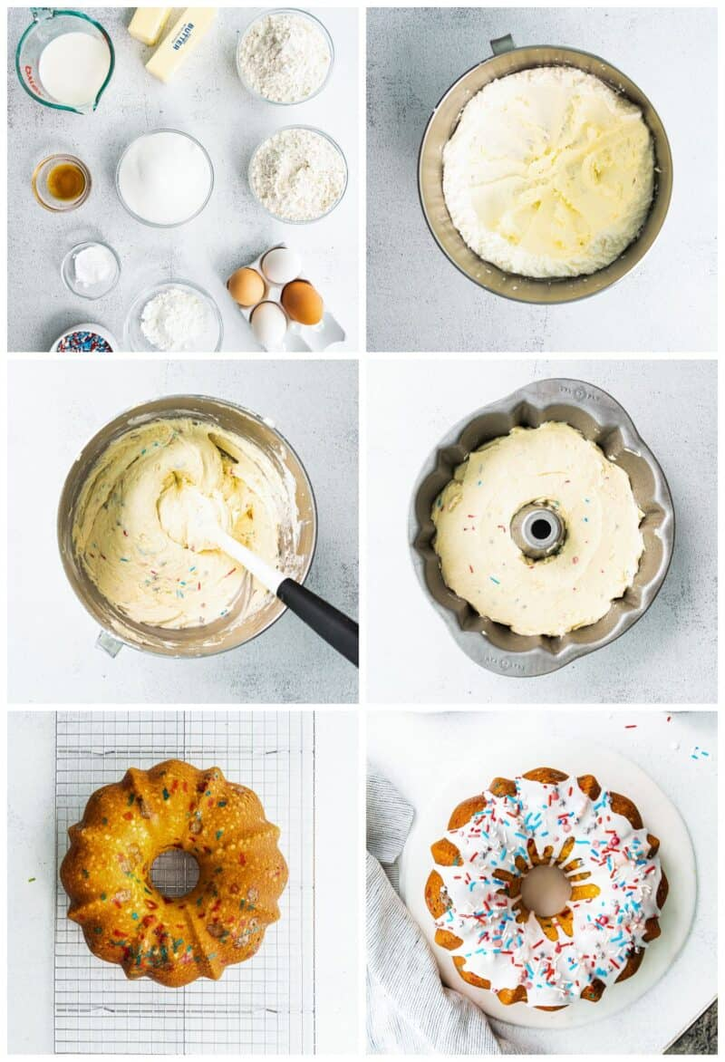step by step photos for how to make 4th of july bundt cake