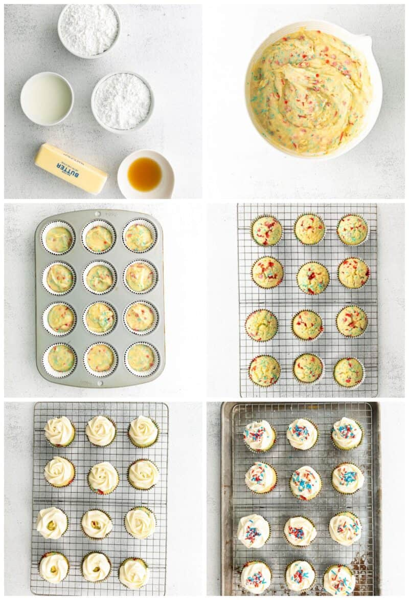 step by step photos for how to make fourth of july cupcakes