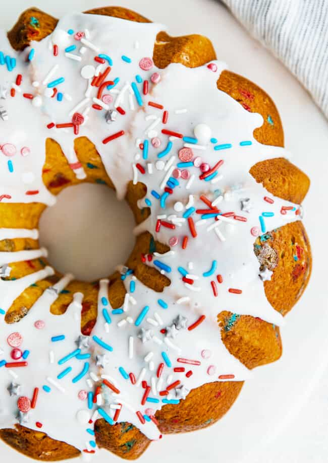 up close fourth of july bundt cake on serving platter