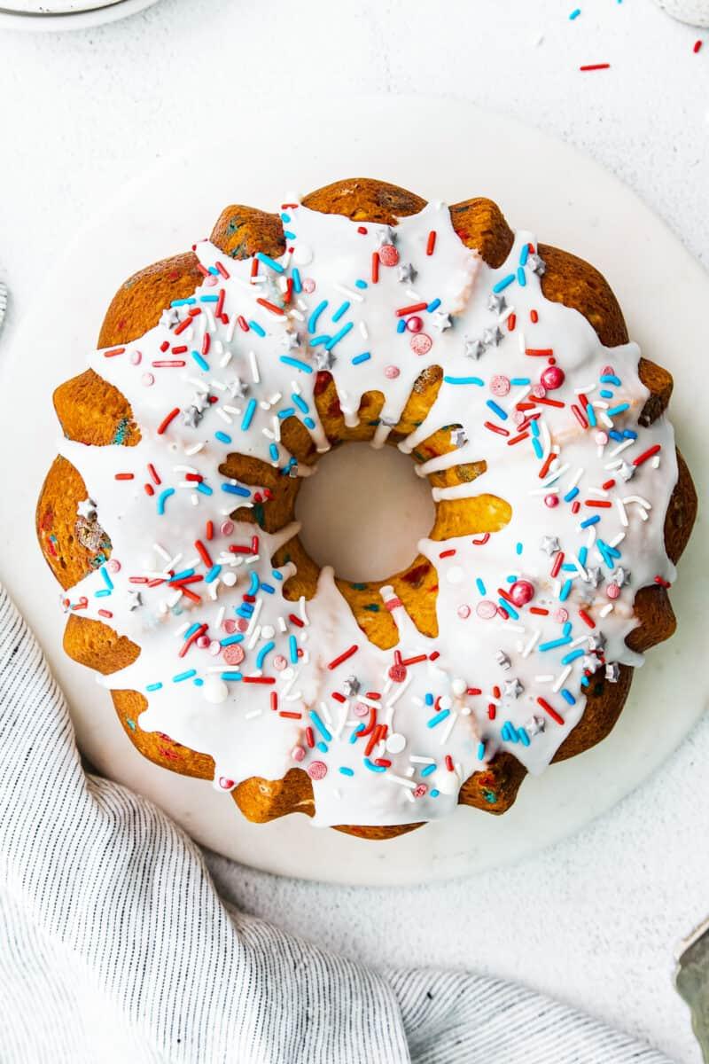 overhead 4th of july bundt cake