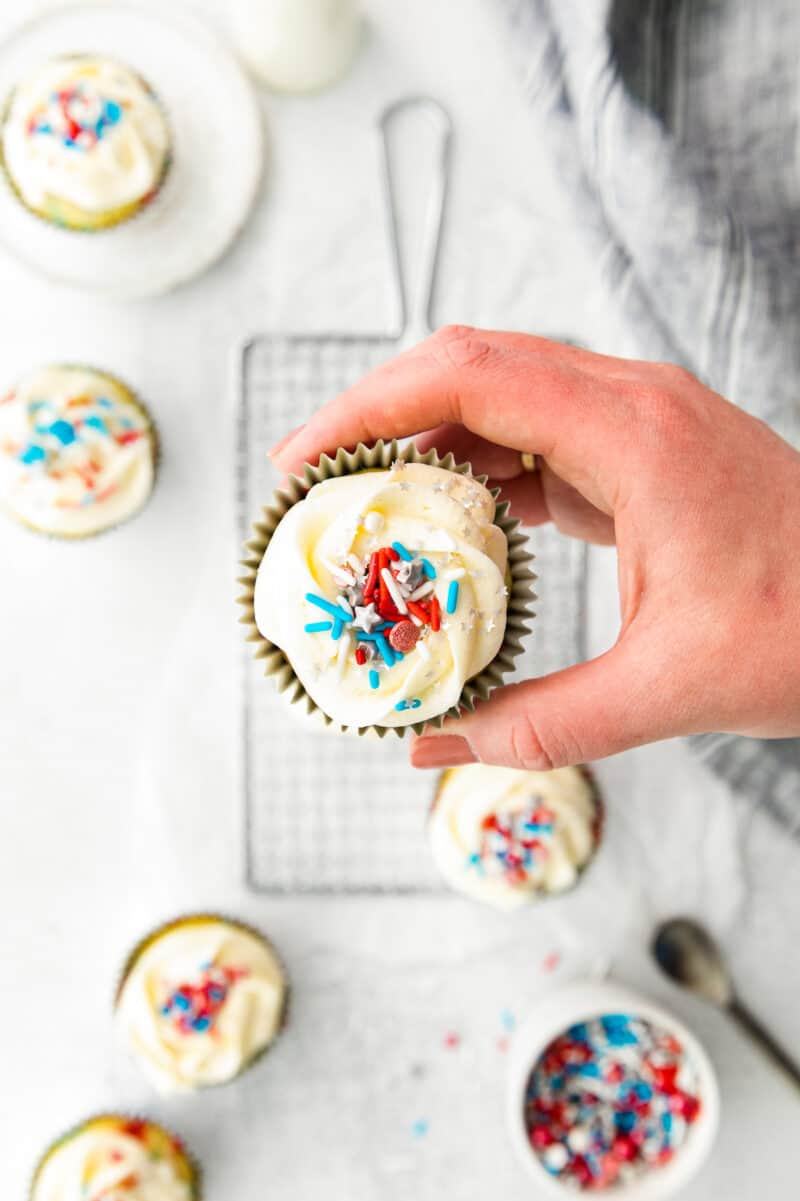 overhead 4th of july cupcake with sprinkles