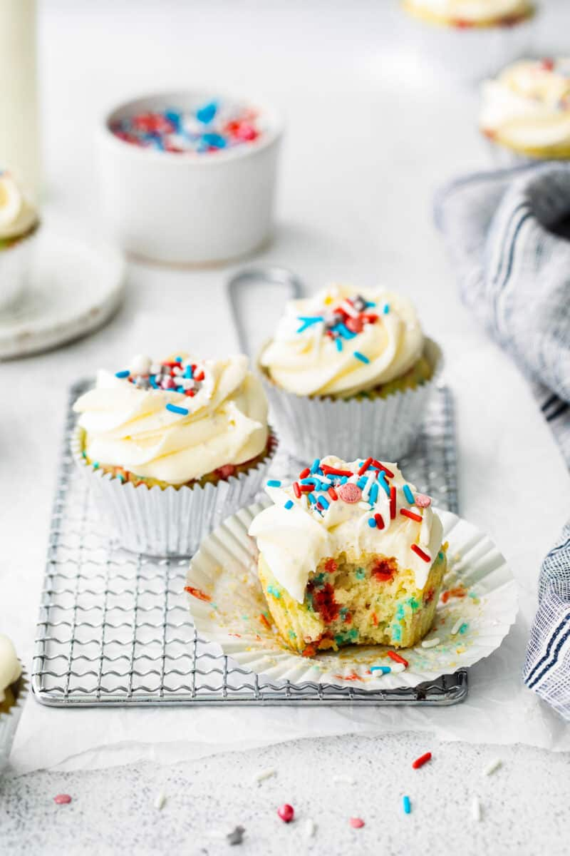 bite out of 4th of july cupcake