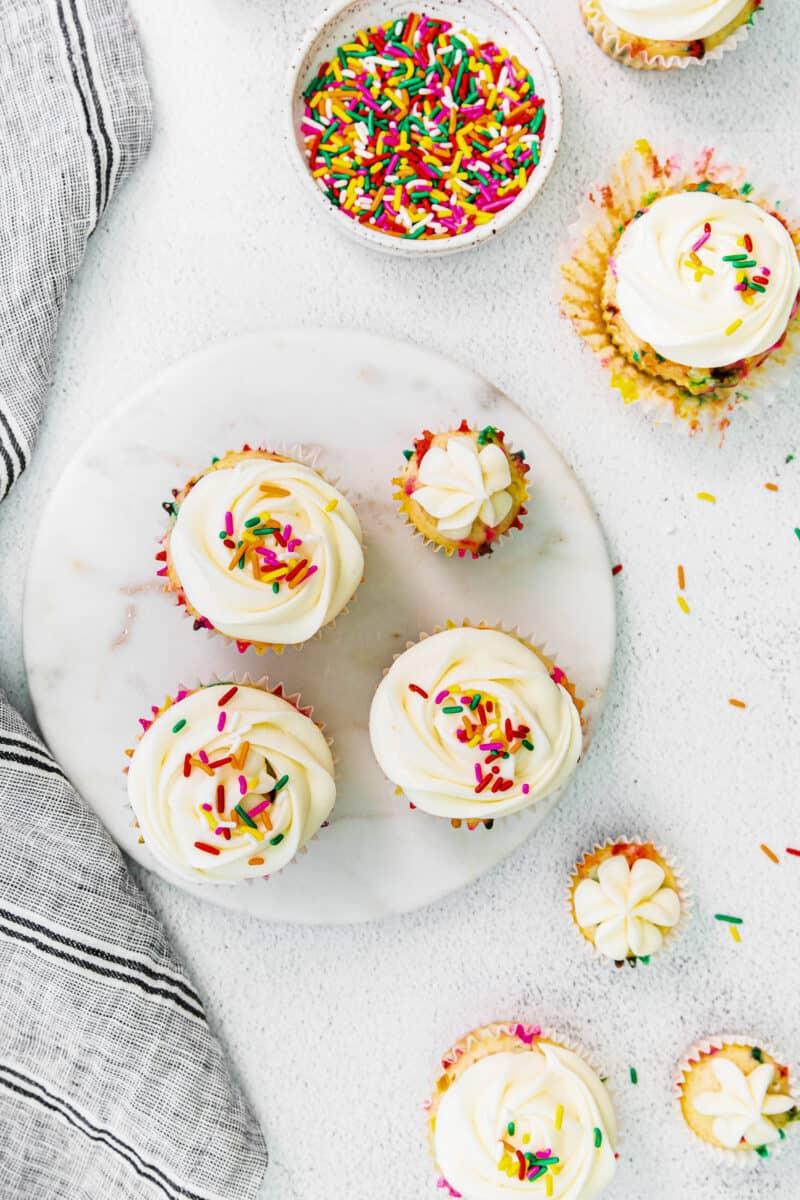 overhead funfetti cupcakes