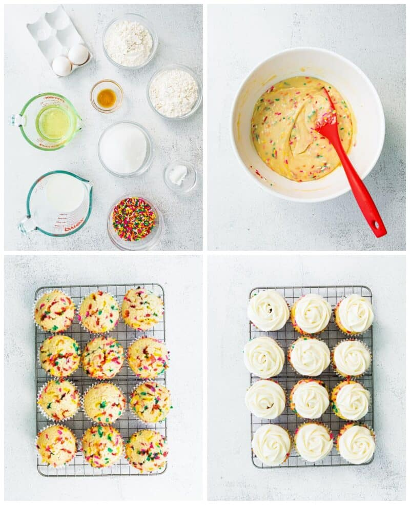 step by step photos for how to make funfetti cupcakes
