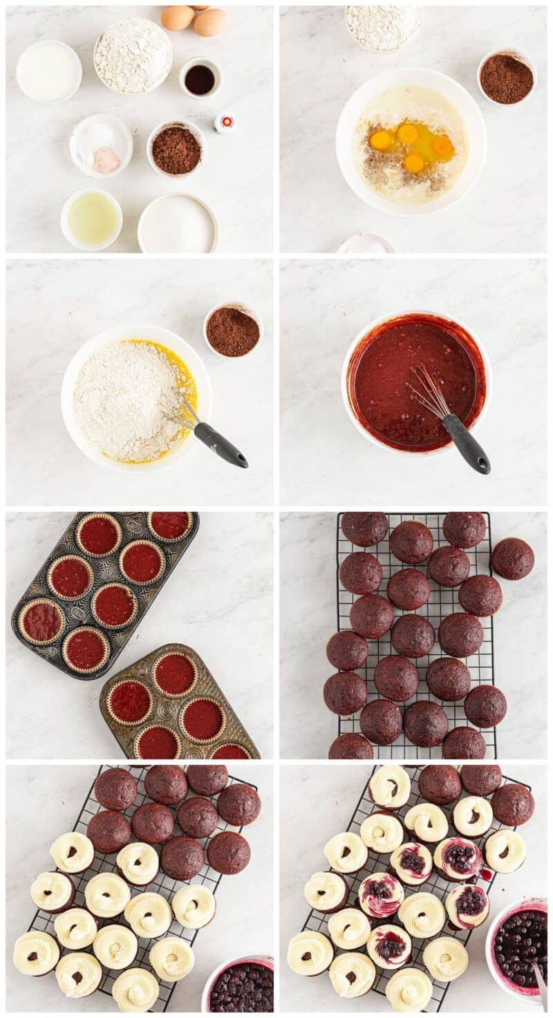 step by step photos for red velvet cupcakes with blueberry compote