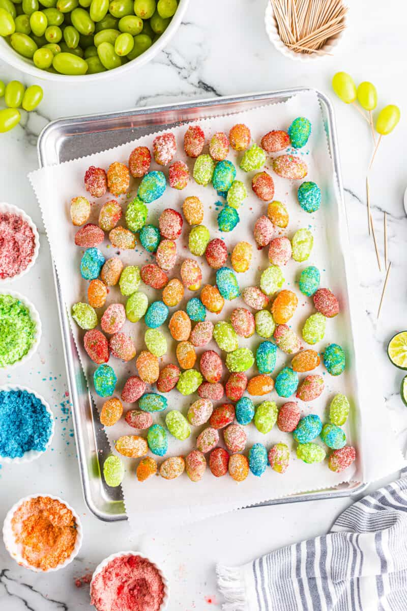 baking sheet with candy grapes made with jello