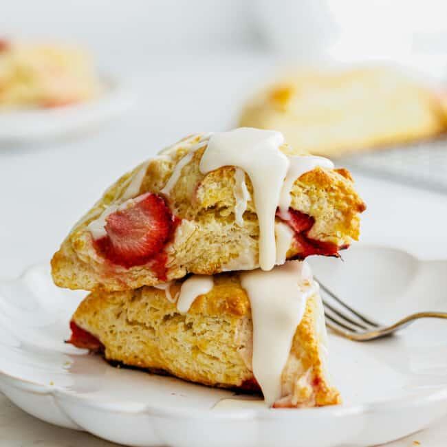 stacked strawberry scones