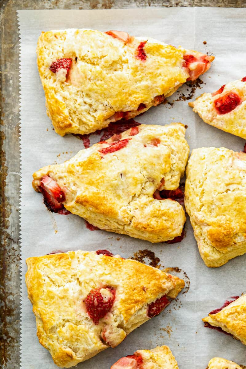 sheet pan with fresh strawberry scones