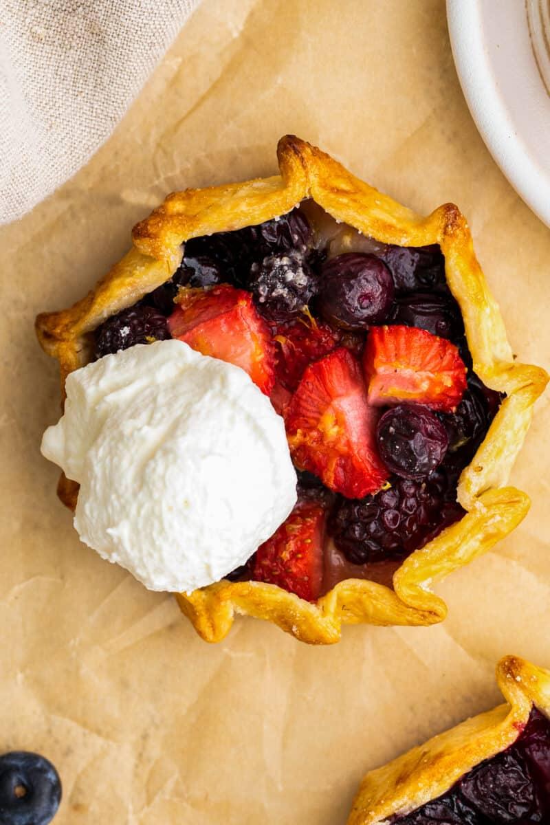 berry galette with vanilla ice cream