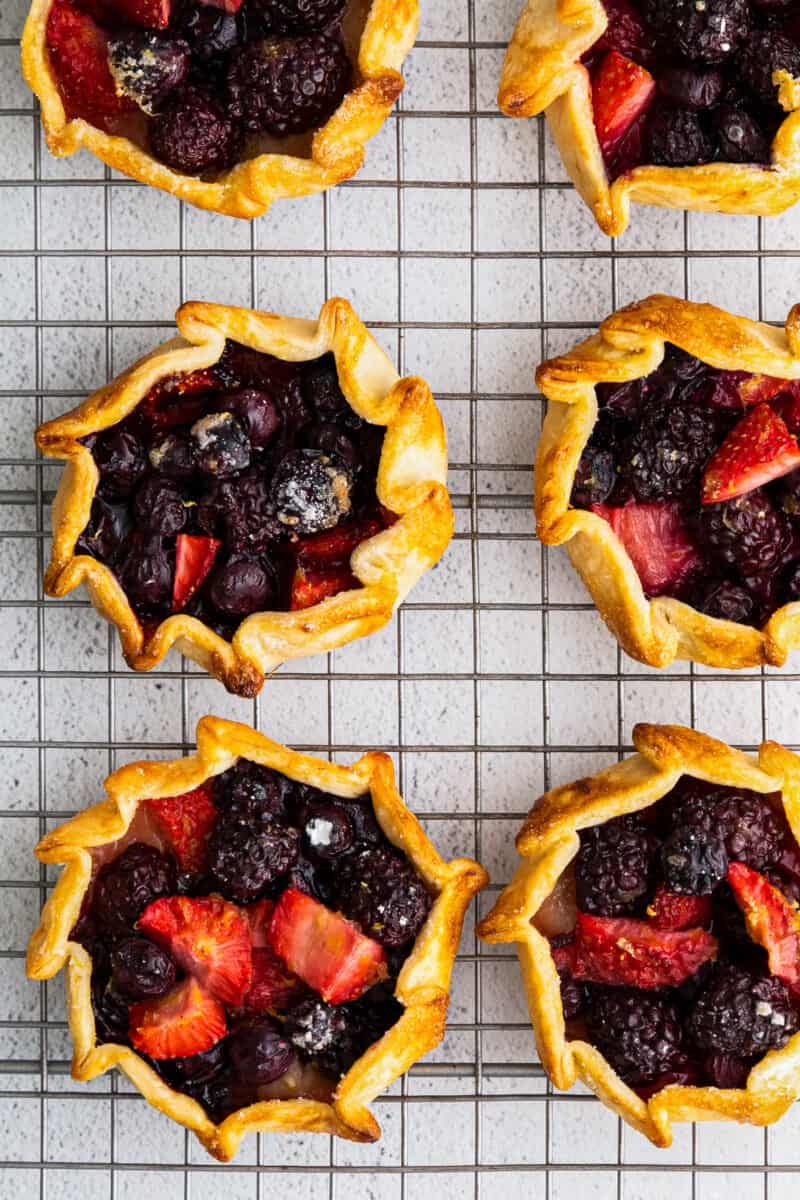 cooling rack with summer berry galettes