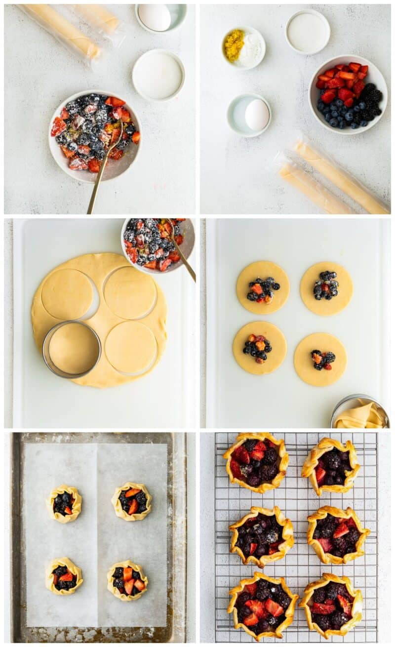 step by step photos for how to make summer berry galettes