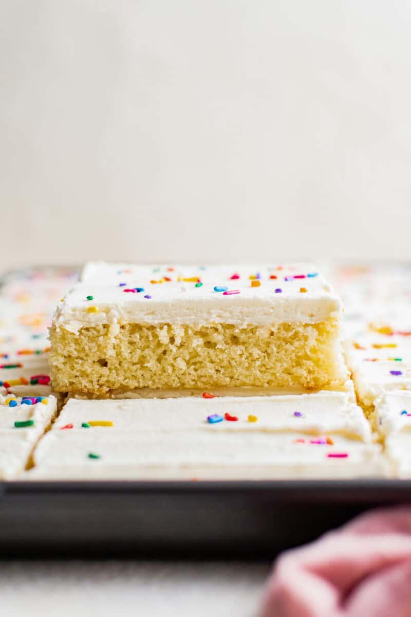 slice of vanilla sheet cake