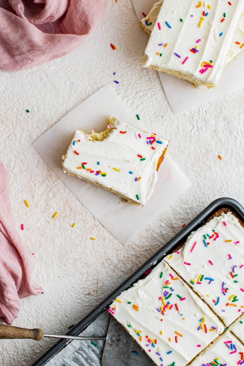 bite out of vanilla sheet cake