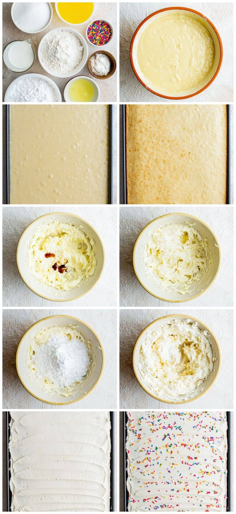 step by step photos for how to make vanilla sheet cake