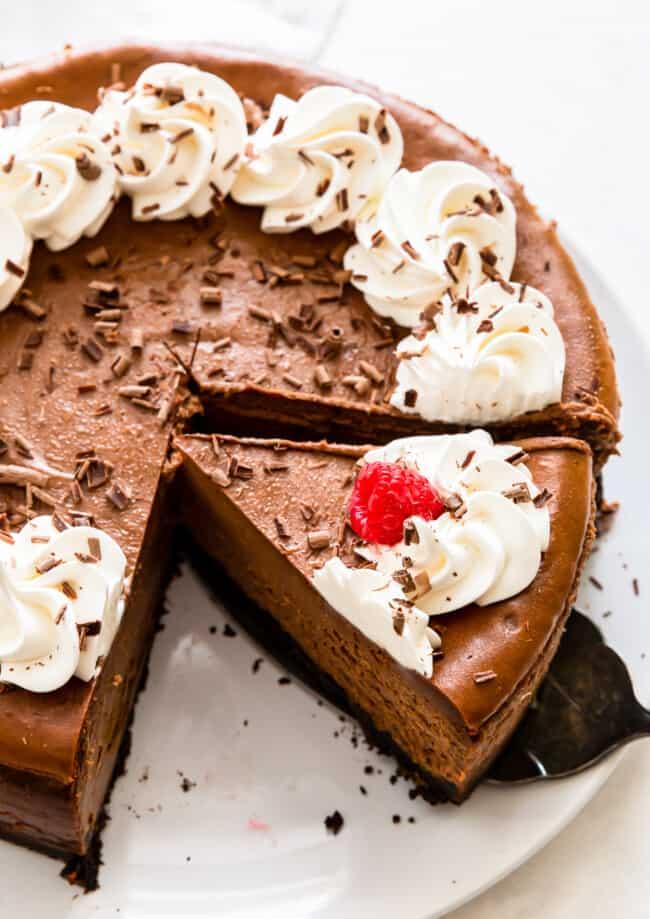chocolate cheesecake with whipped cream and raspberries