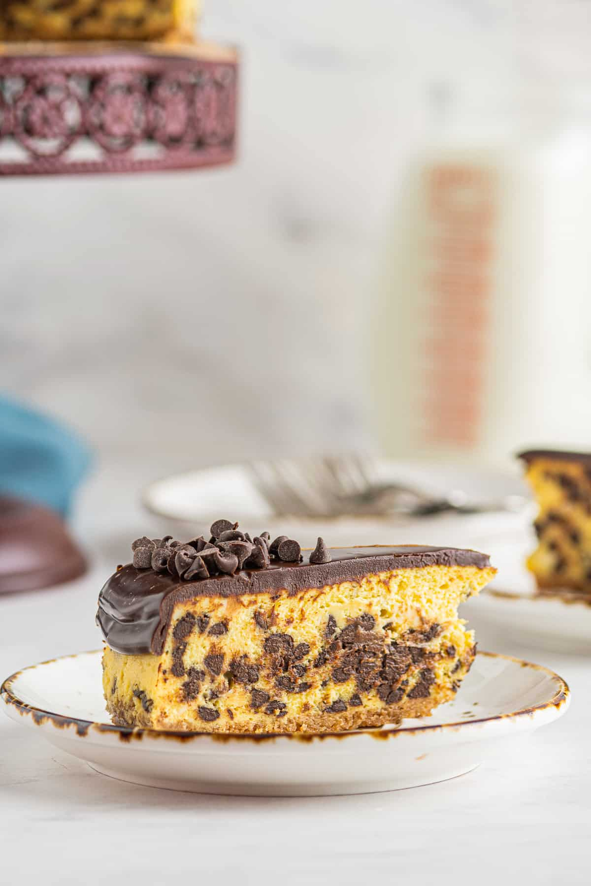 slice of chocolate chip cheesecake on white plate