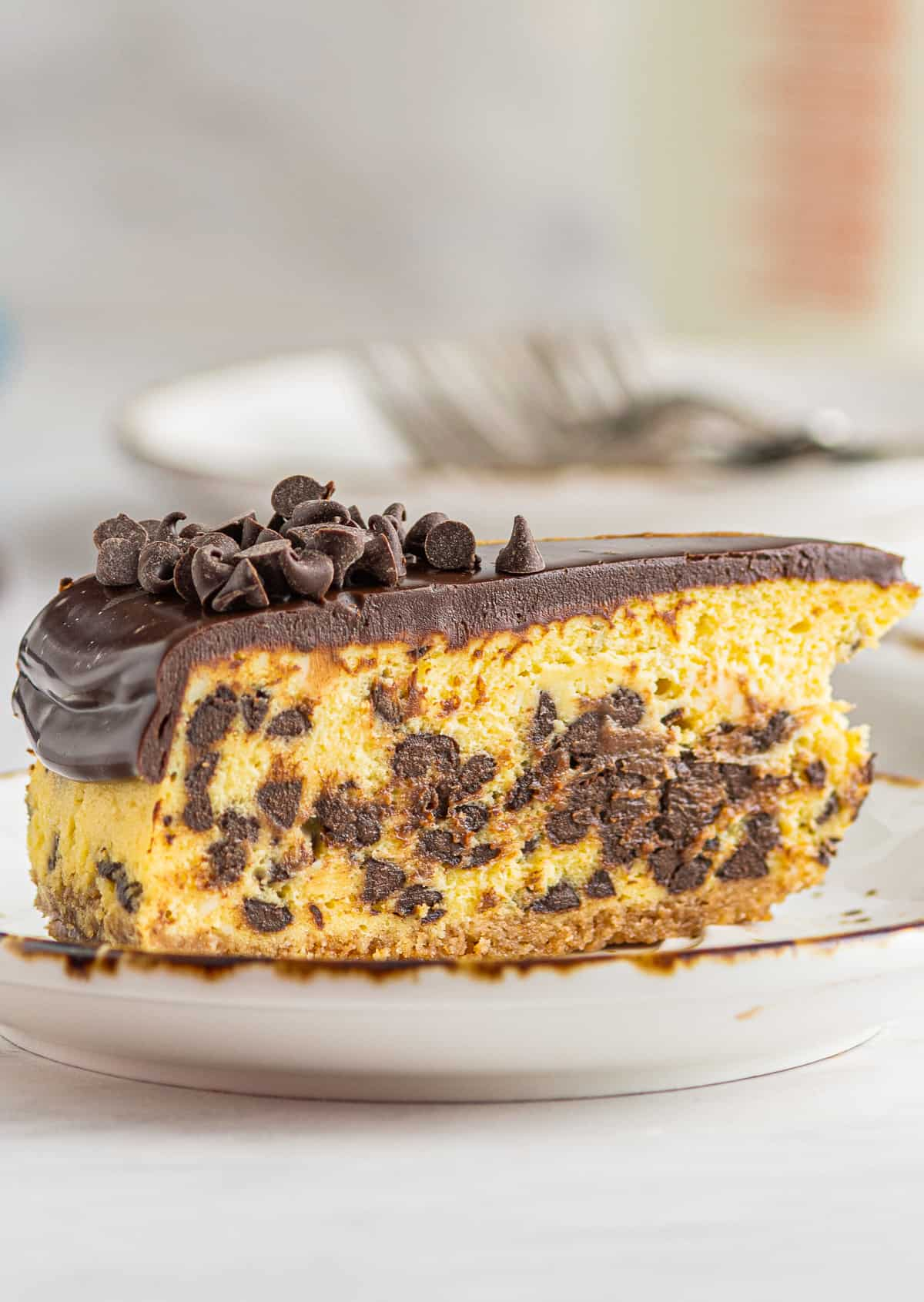 up close slice of chocolate chip cheesecake on white plate
