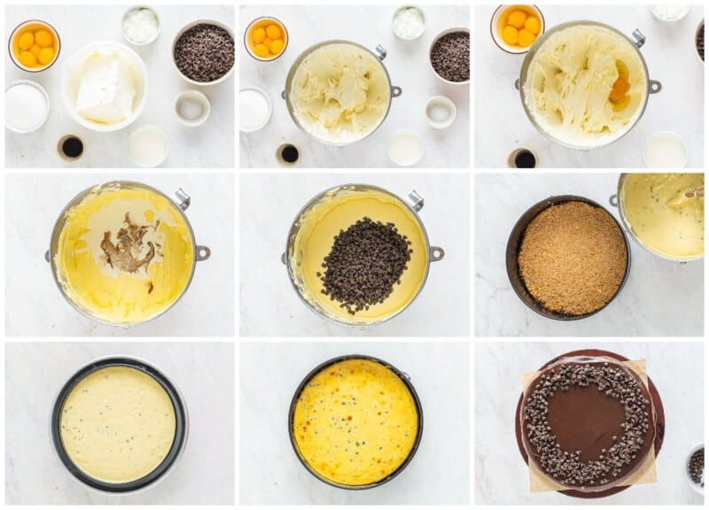 step by step photos for how to make chocolate chip cheesecake