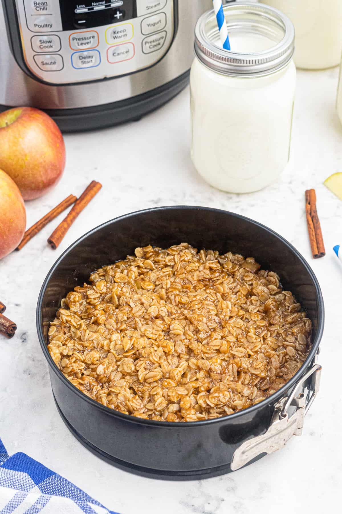 instant pot apple crisp in pan