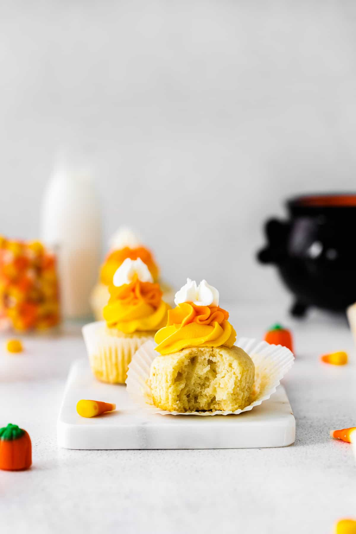 bite out of candy corn cupcakes for halloween