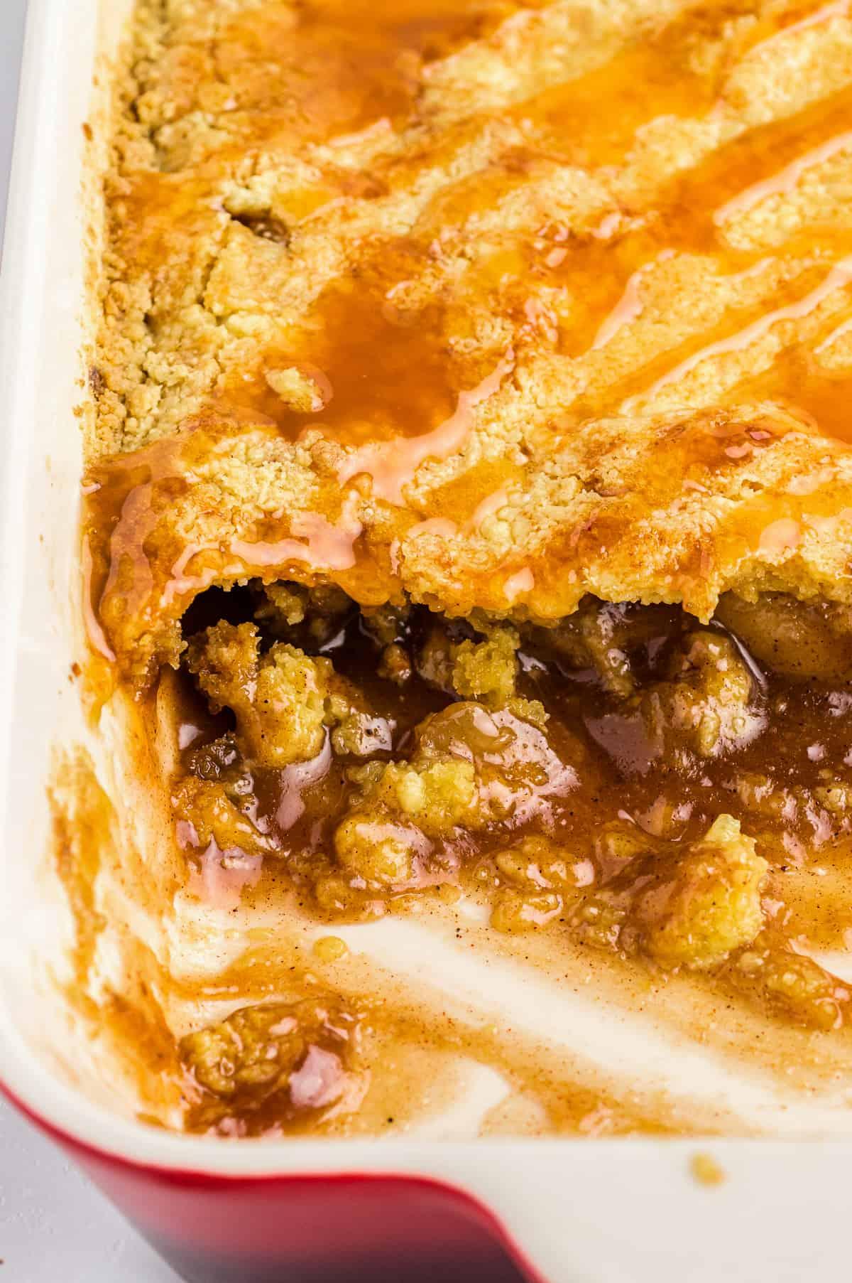 caramel apple dump cake in baking dish