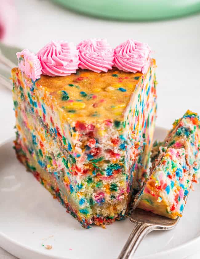 up close funfetti cheesecake with bite out