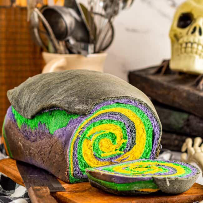 loaf of swirled halloween bread