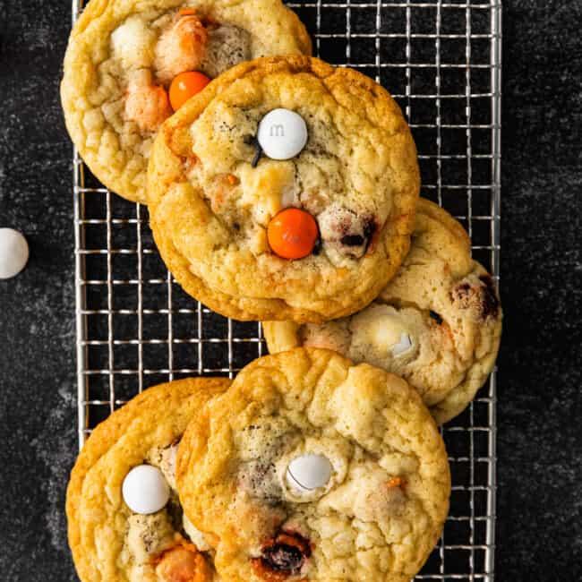 halloween m&m cookies on cooling rack