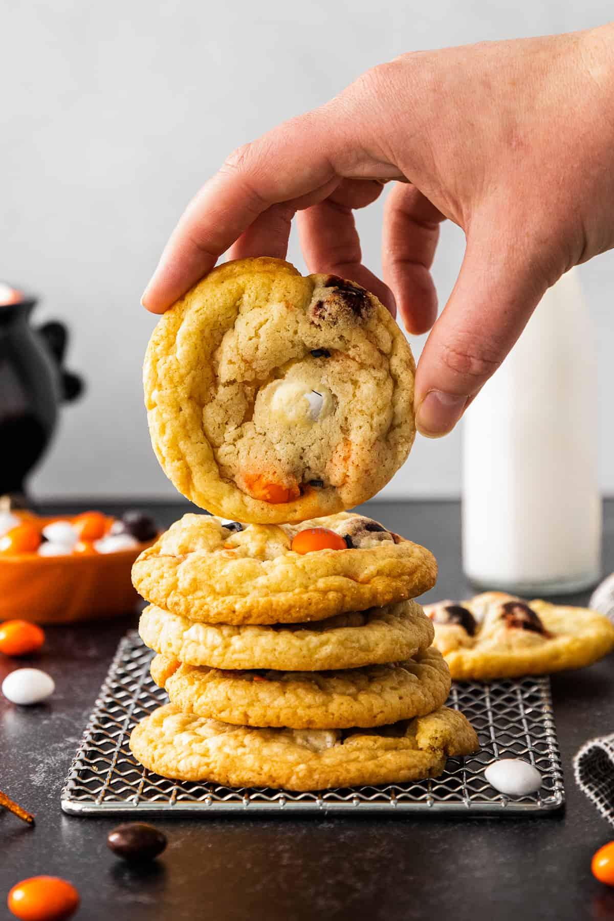 stack of halloween m&m cookies