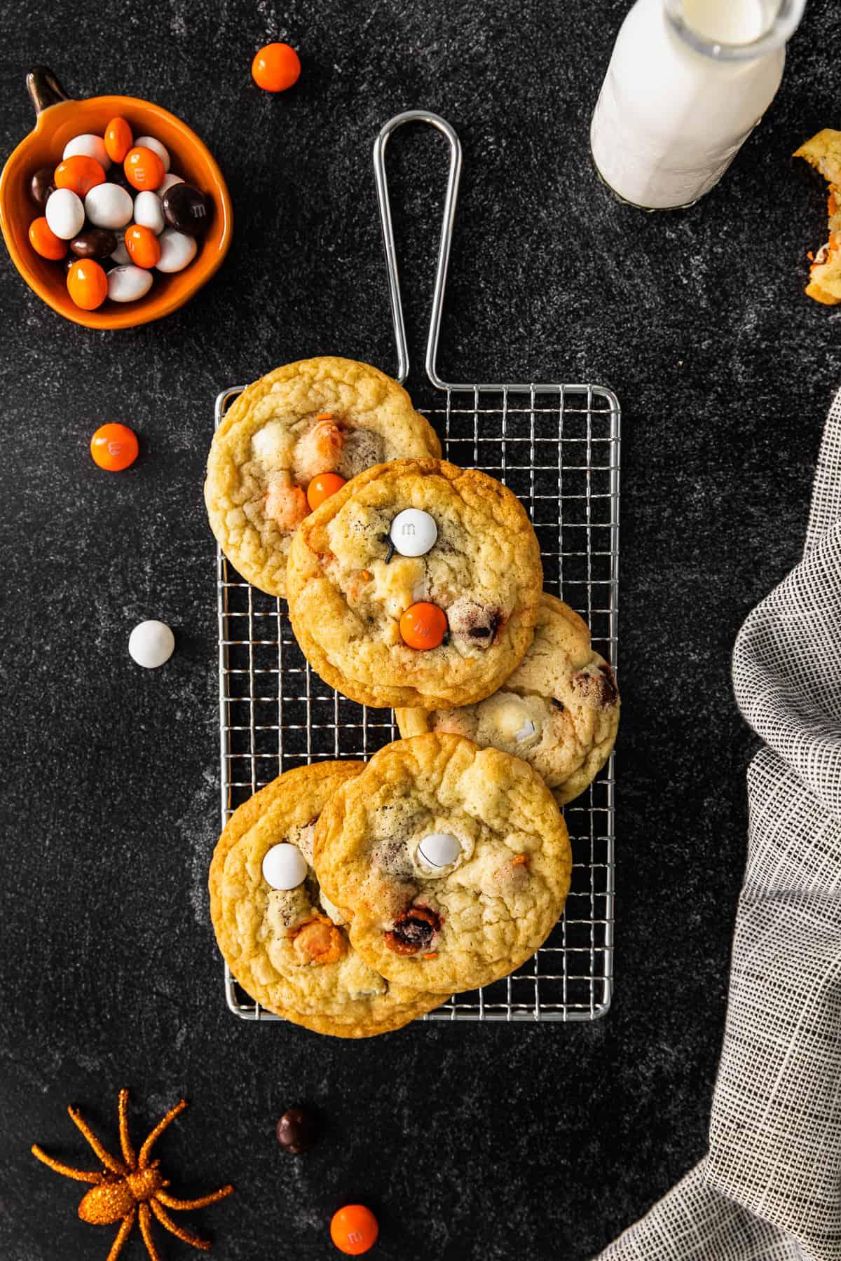 4 halloween m&m cookies