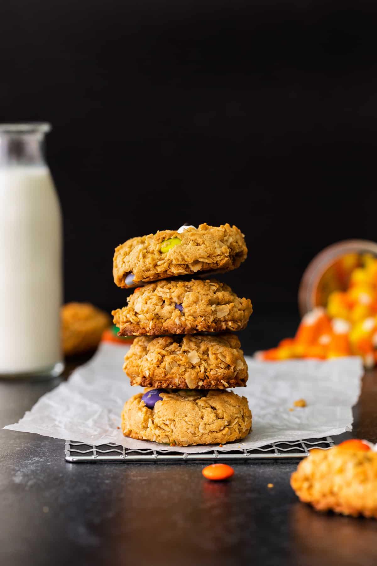 stacked halloween monster cookies
