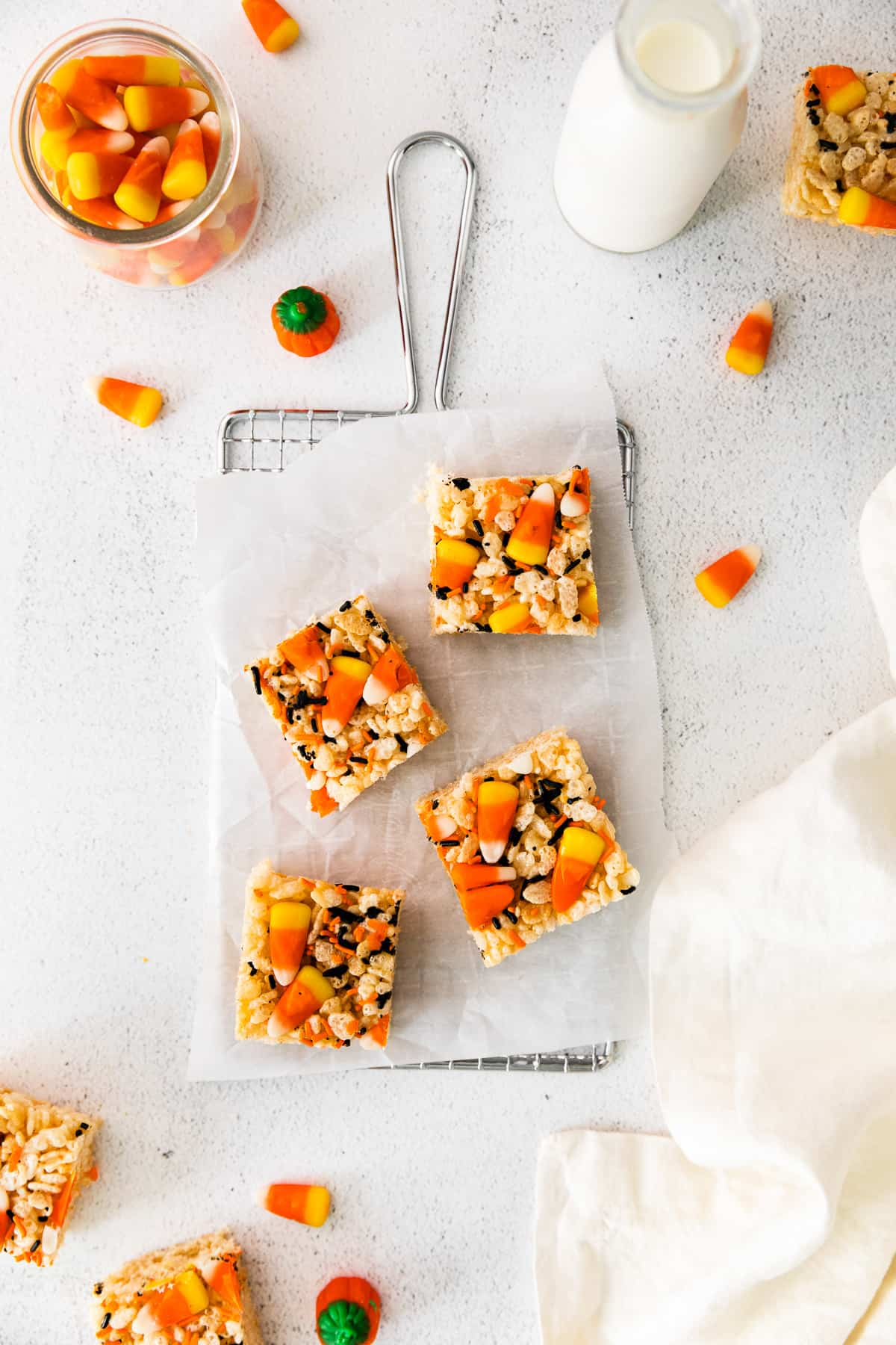 halloween rice krispie treats on cooling rack