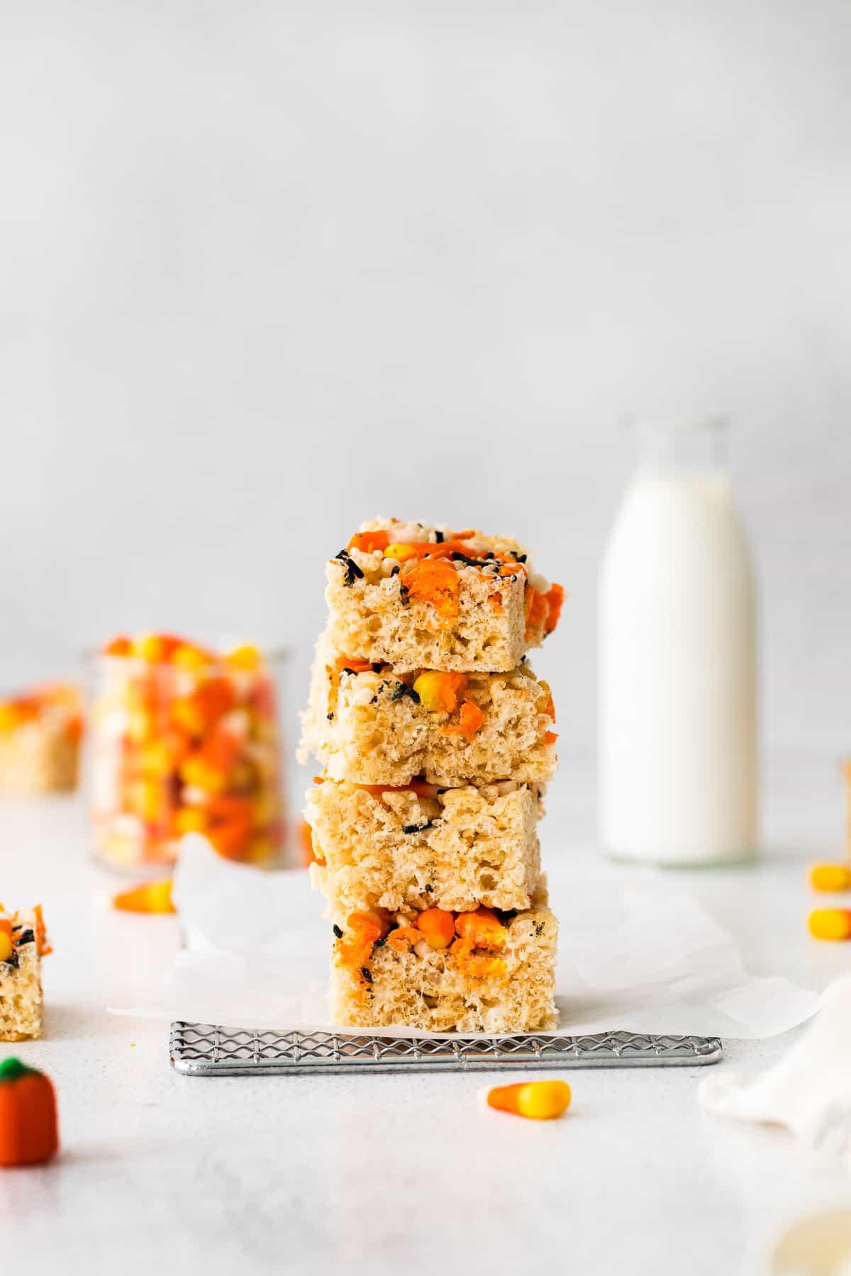 stacked halloween rice krispies