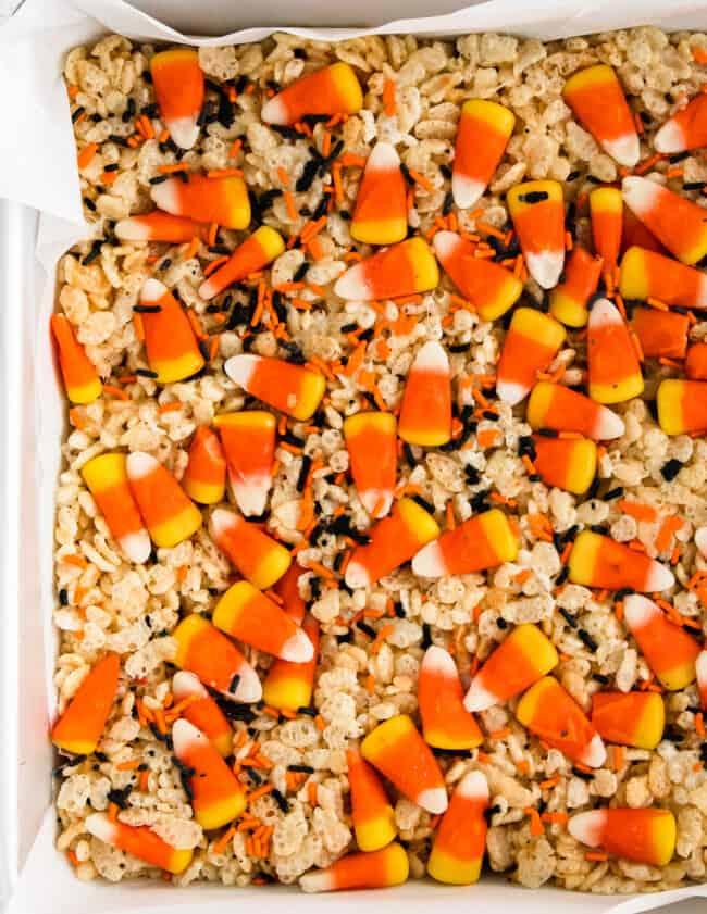 halloween rice krispie treats with candy corns
