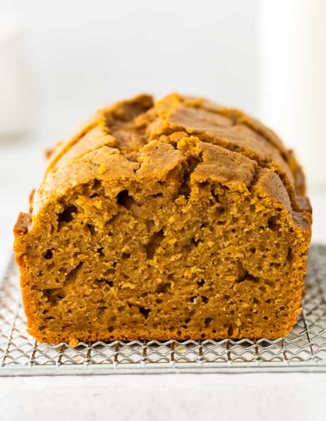 up close inside of pumpkin bread