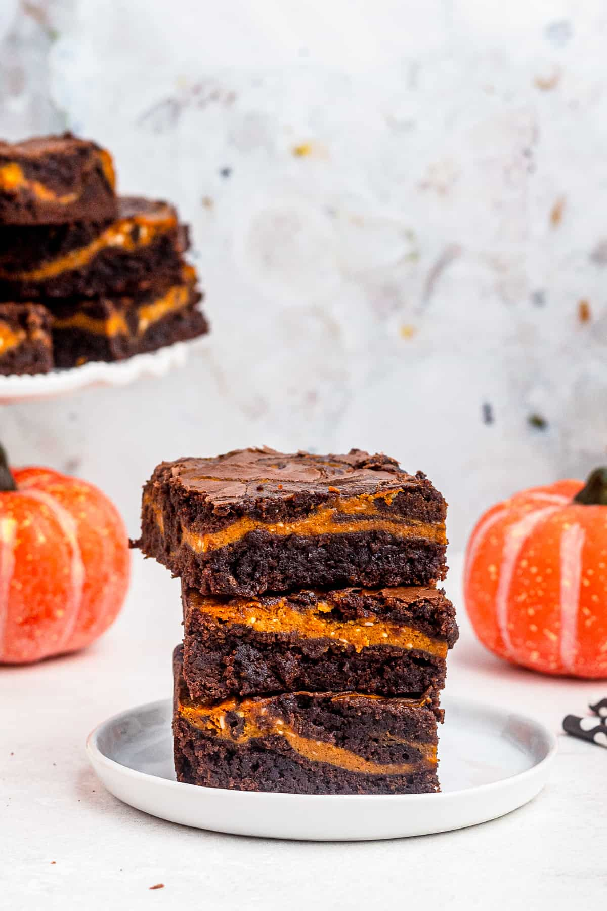 stacked pumpkin brownies