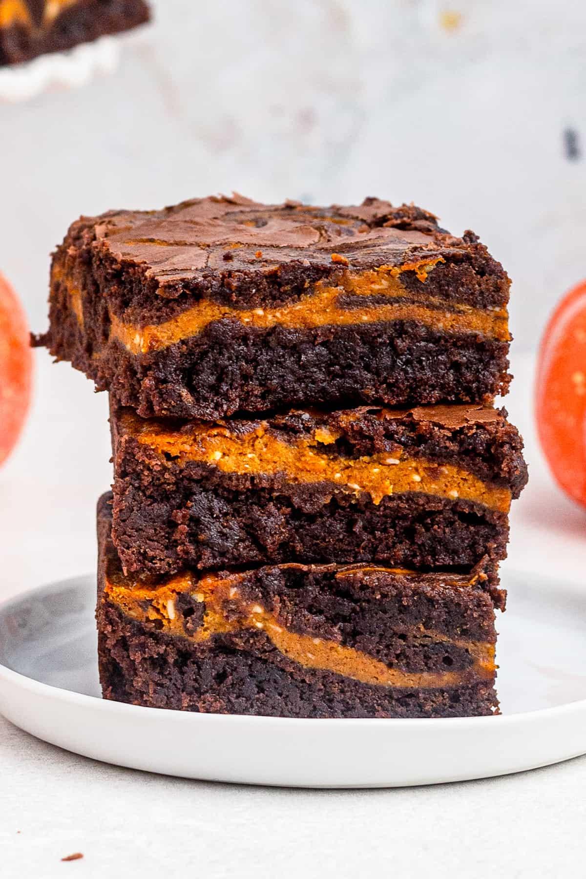 up close stacked pumpkin brownies