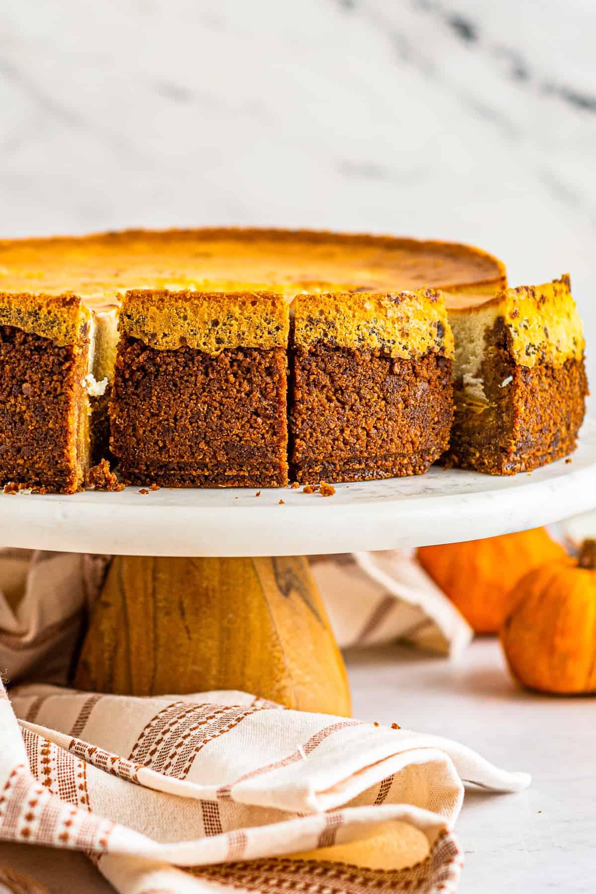 slices of pumpkin pie cheesecake